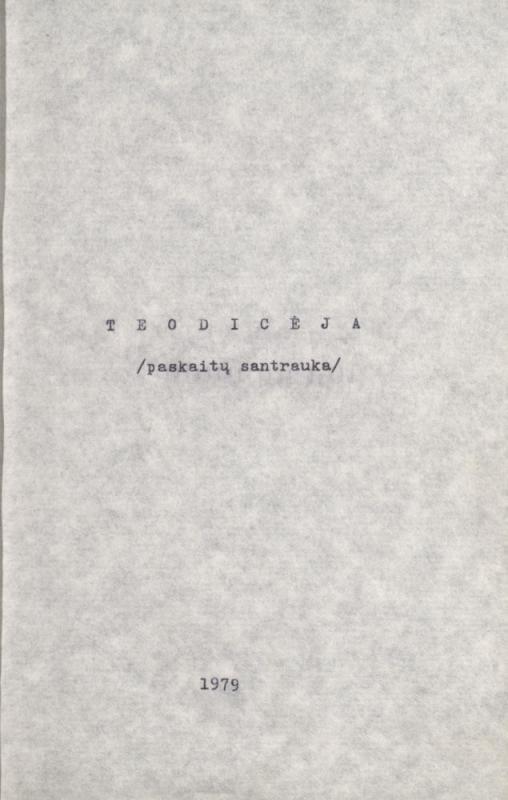 Teodicėja: (paskaitų santrauka). [S. l.], 1979. 100 lap.