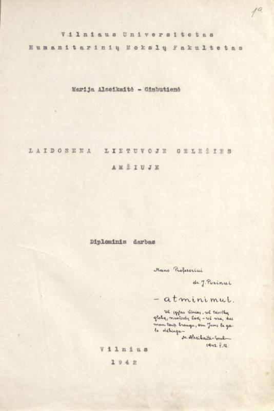 Alseikaitė-Gimbutienė, Marija. Laidosena Lietuvoje geležies amžiuje: diplominis darbas