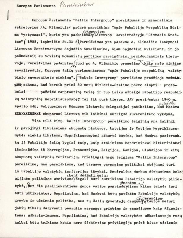 Lietuvos laisvės lygos (LLL) Tautinės tarybos atstovų Vakaruose kreipimasis į Europos Parlamento Pirmininką. Čikaga, 1988 m. gruodžio 6 d.