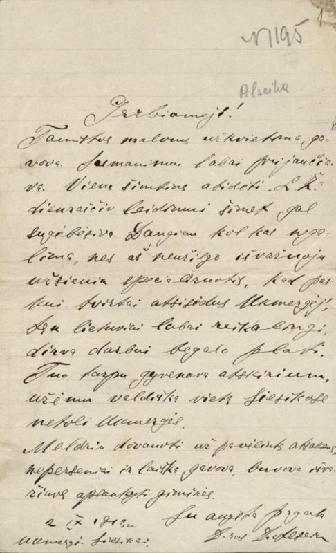 D. Alseikos laiškas Felicijai Bortkevičienei