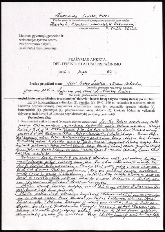 Kazimiero Leviškos prašymas-anketa