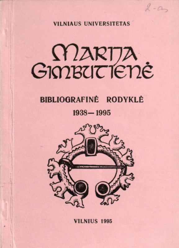 Marija Gimbutienė: bibliografinė rodyklė, 1938–1995