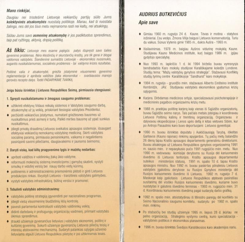 Audriaus Butkevičiaus programa. Nepriklausomas