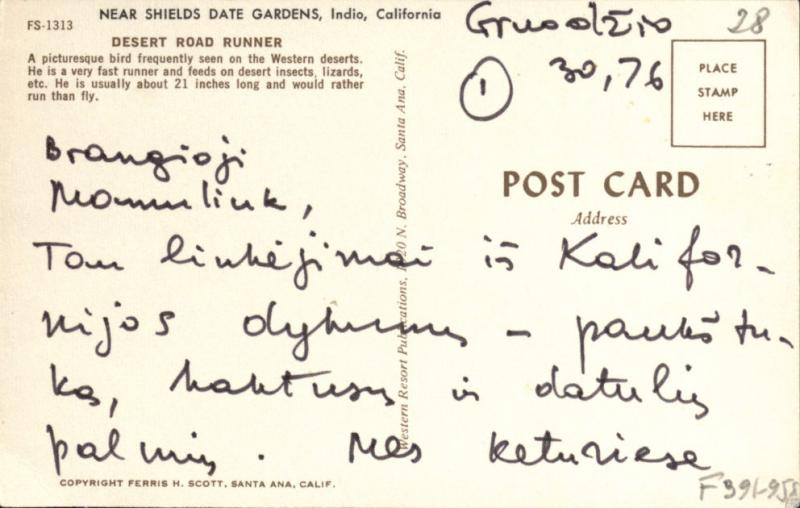 M. Gimbutienės atvirukas, atsiųstas tetai J. Matjošaitienei