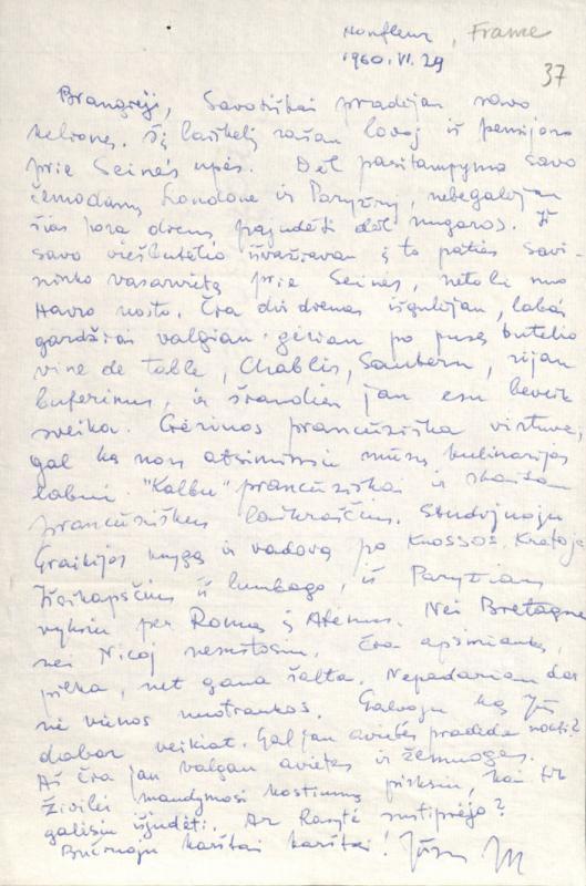 M. Gimbutienės laiškas namiškiams