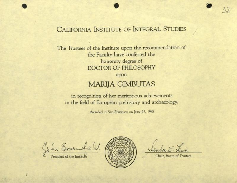 Kalifornijos Integraliųjų studijų instituto raštas apie Filosofijos mokslų garbės daktaro laipsnio suteikimą Marijai Gimbutienei
