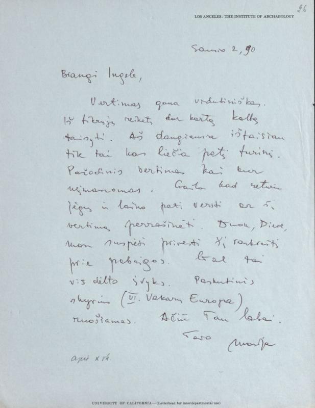 M. Gimbutienės laiškas Ingei Lukšaitei