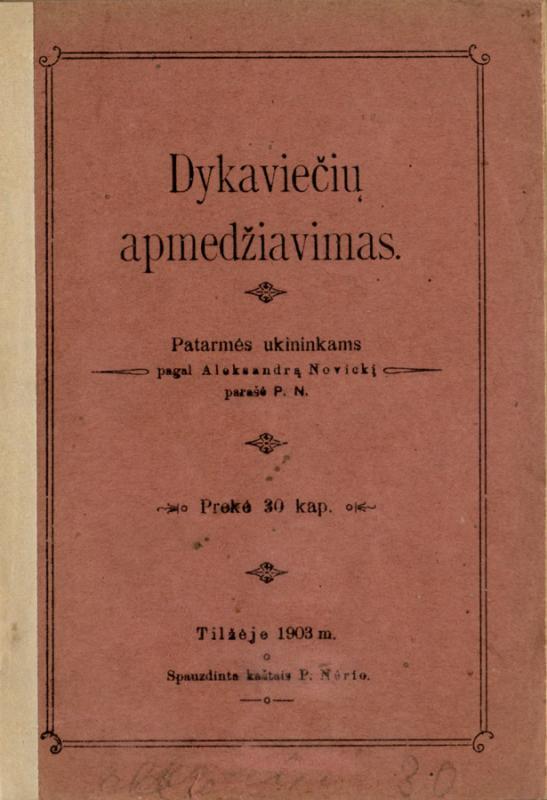 Nowicki, Aleksander. Dykaviečių apmedžiavimas: patarmės ukininkams