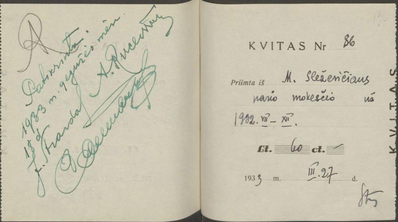Kvitų knygelė. Kaunas, 1931–1940.