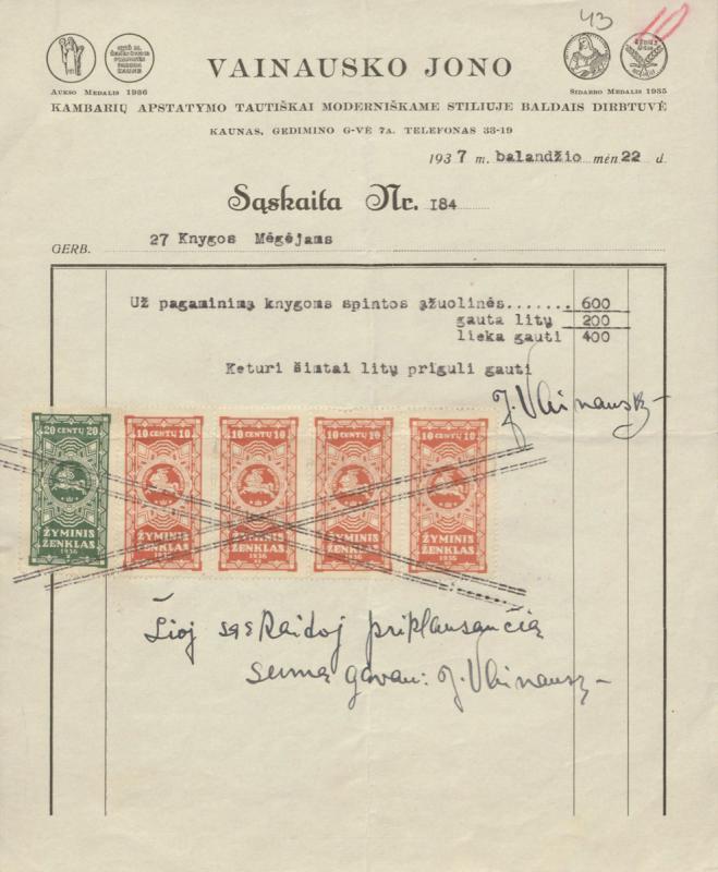 Jono Vainausko baldų dirbtuvės sąskaita. Kaunas, 1937 m. balandžio 22 d.
