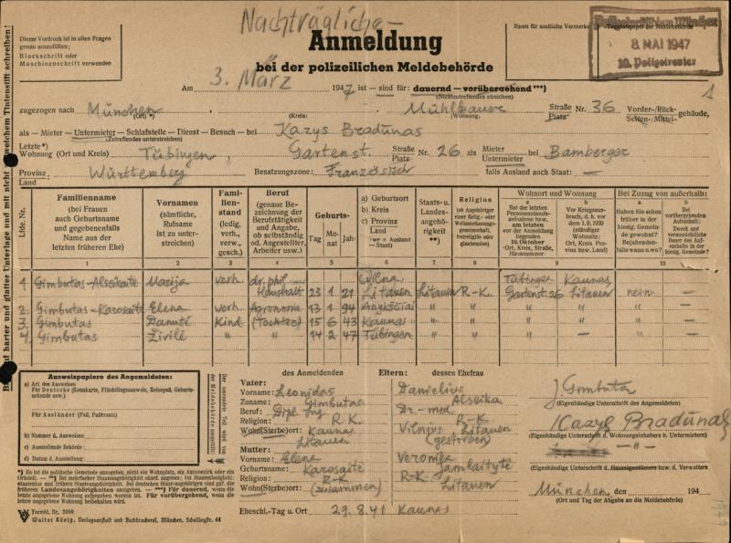 Gimbutų šeimos registracijos Tiubingene blankas