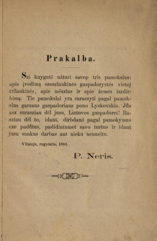 Łyskowski, Ignacy. Trys pamokslai apie gaspadoryste dēl gaspadoriu sodiecziu