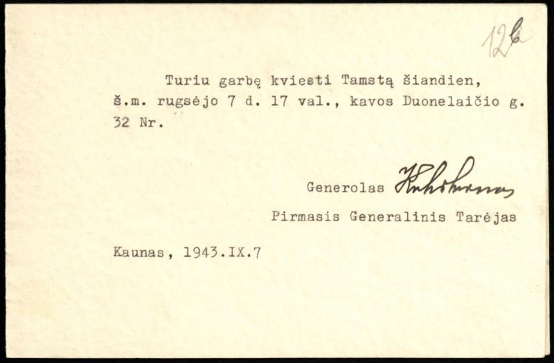 Gen. P. Kubiliūno kvietimas