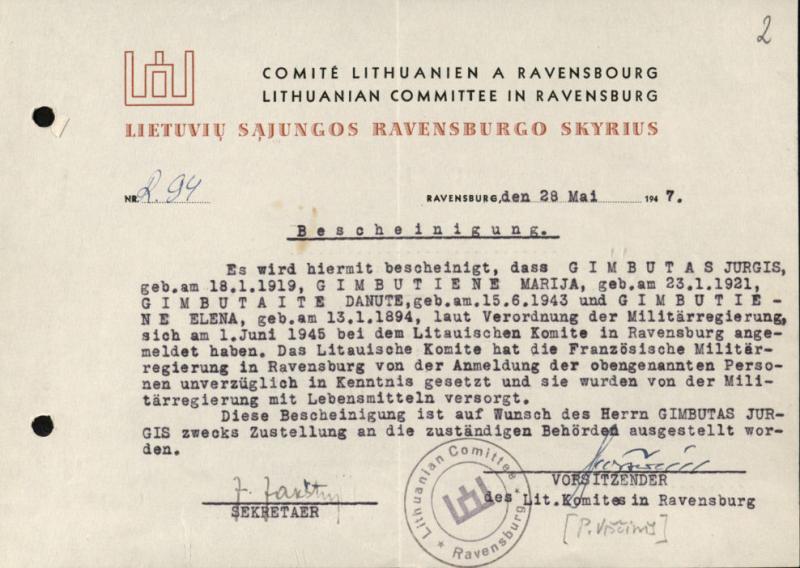 Lietuvių sąjungos Ravensburgo skyriaus pažyma, išduota Gimbutų šeimai