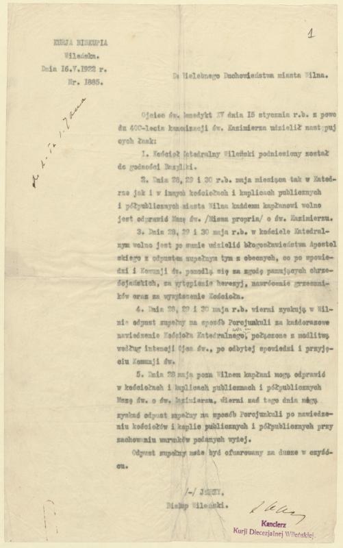 Vilniaus vyskupo Jurgio Matulevičiaus raštas Vilniaus miesto dvasininkams