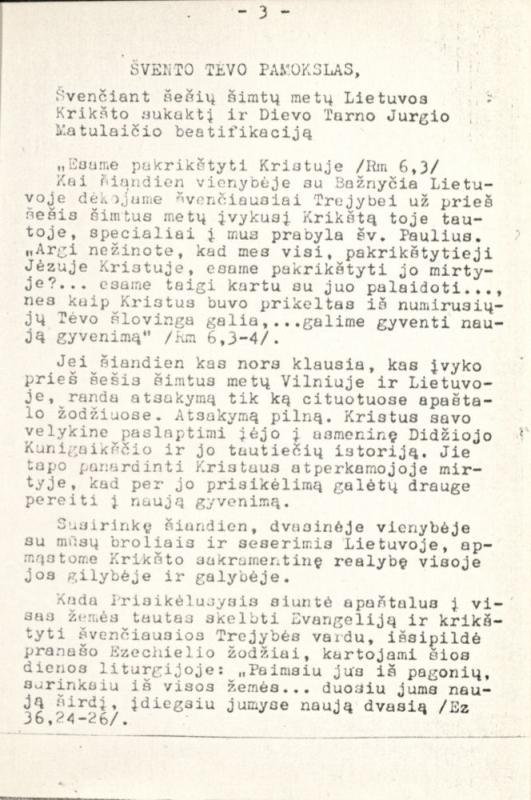 Susimąstymui Lietuvos Krikšto 600 metų jubiliejaus proga. Vilnius; Kaunas, 1987. 44 lap.