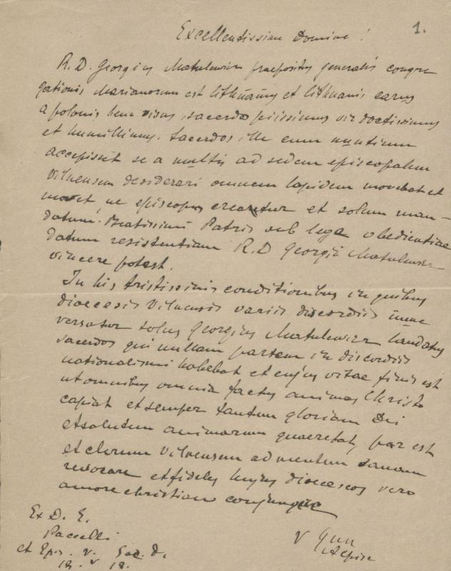 Nežinomo asmens 1918 m. laiškas Vatikanui