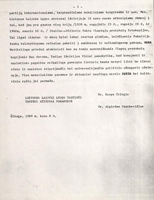 """Išeivijoje veikiančios Lietuvos Laisvės Lygos (LLL) Tautinės tarybos atstovų pareiškimas """"Priešų nusikaltimo pagrindiniai dokumentai reikalauti atkurti nepriklausomybę"""". Čikaga, 1989 m. kovo 8 d."""