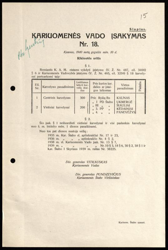 Kariuomenės vado įsakymas Nr. 18