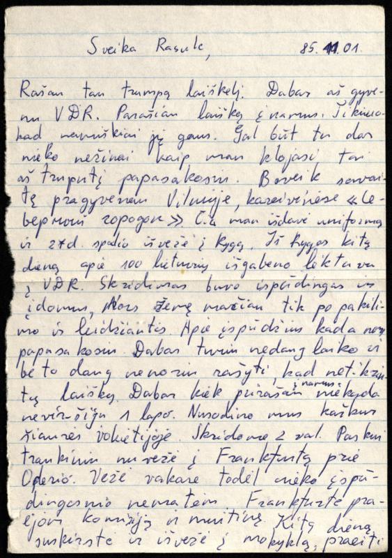 Gintaro Leviškos (g. 1967) laiškas