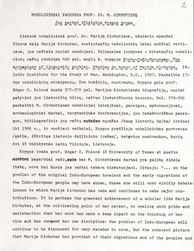 Gustaitis, Algirdas. Mokslininkai pagerbia prof. M. Gimbutienę Jos garbei išleistos knygos proga