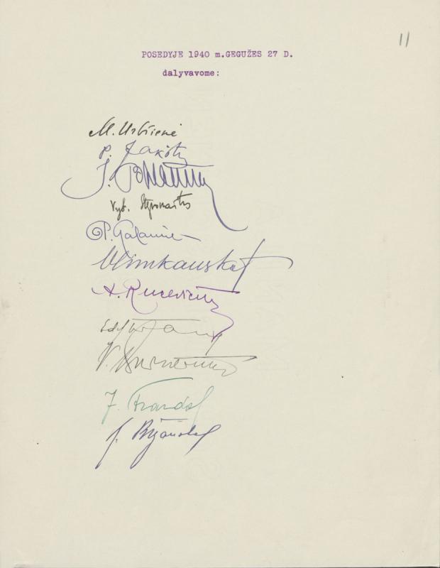 Dalyvavusių XXVII knygos mėgėjų susirinkime sąrašas. Kaunas, 1940 m. gegužės 27 d.