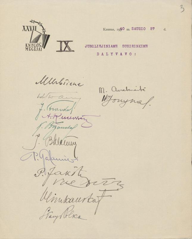 XXVII knygos mėgėjų sukaktuvinio susirinkimo dalyvių sąrašas (parašai). Kaunas, 1940 m. sausio 27 d.