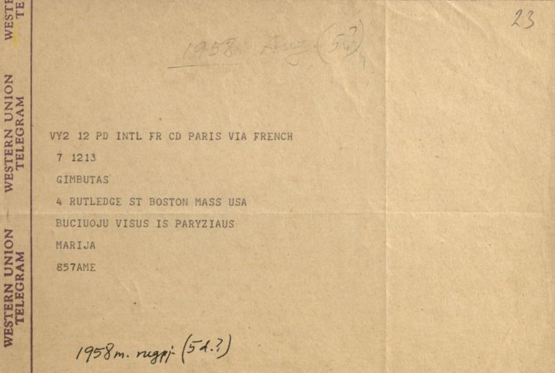 M. Gimbutienės telegrama J. Gimbutui