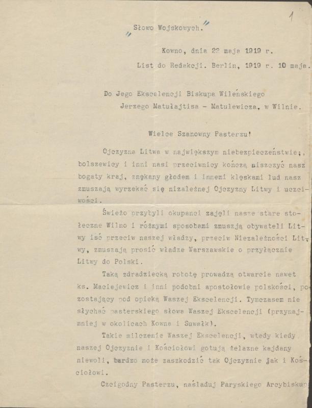 Prelato Konstantino Olšausko prašymas Vilniaus vyskupui Jurgiui Matulevičiui