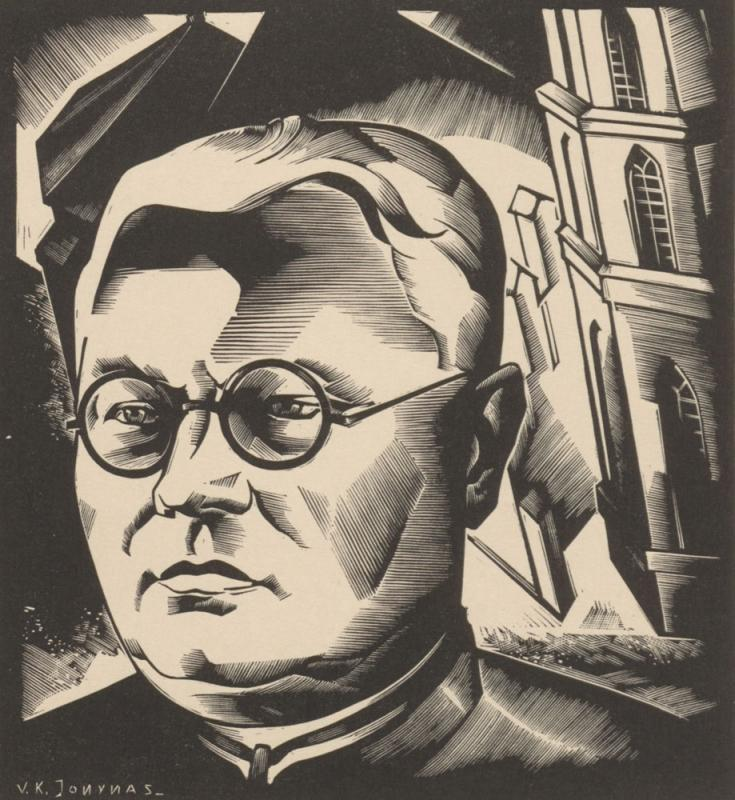 Juozas Tumas Vaižgantas. Portretas. Medžio raižinys. Kaunas, 1933. Dailininkas Vytautas Kazimieras Jonynas. Tiražas 1300 egzempliorių, spausdinta Paryžiuje.