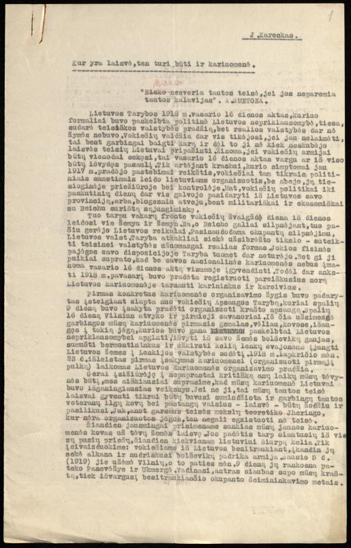 """Jono Karecko straipsnio """"Kur yra laisvė, ten turi būti ir kariuomenė""""  fragmentas."""