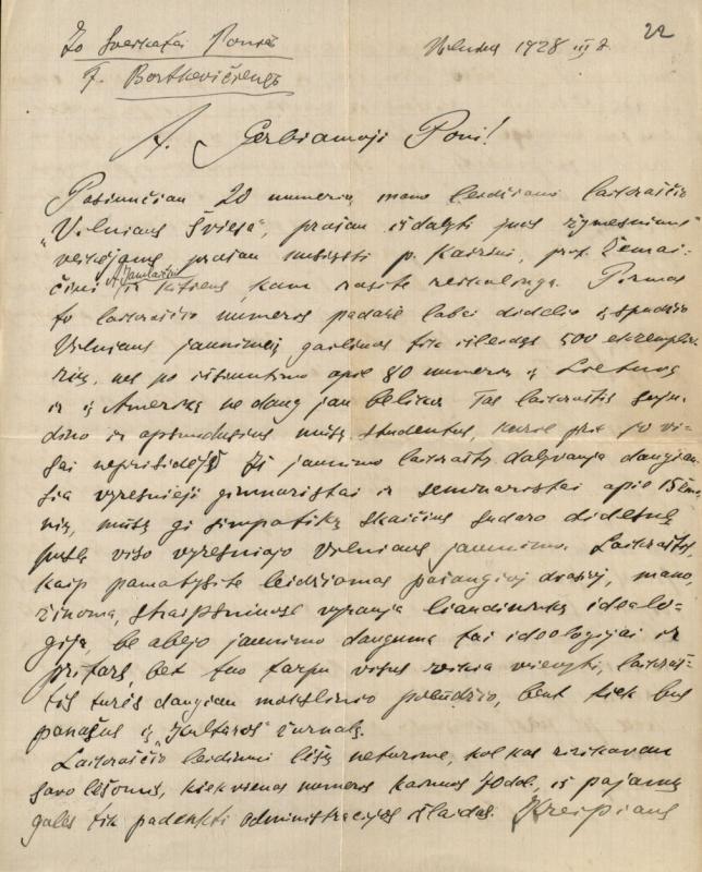D. Alseikos laiškas F. Bortkevičienei