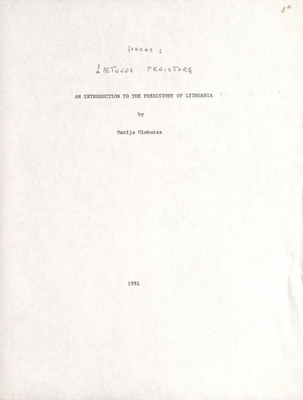 Įvadas į Lietuvos proistorę