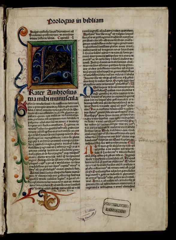 Biblia Latina. Venetijs: per Franciscum de Hailbrun, [1480].
