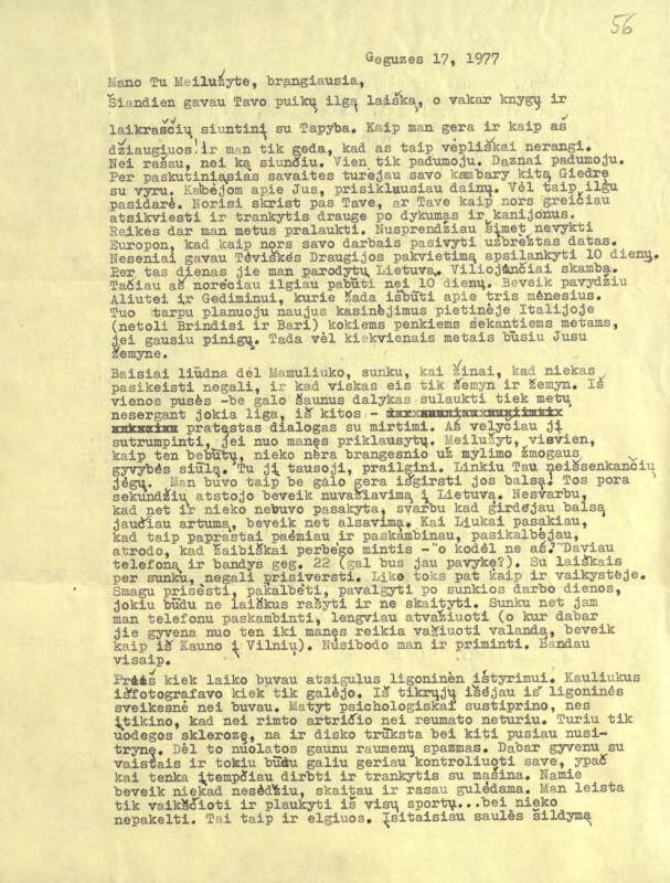 M. Gimbutienės laiškas pusseserei M. Lukšienei