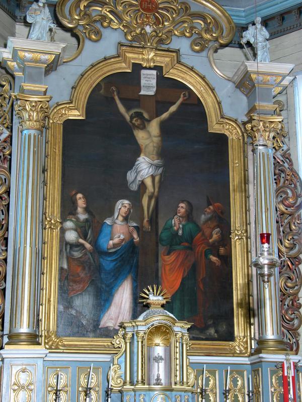 """Paveikslas """"Nukryžiuotasis su šv. Kotryna, Švč. Mergele Marija, šv. apaštalu Jonu ir šv. Jeronimu"""", apie 1670 m."""