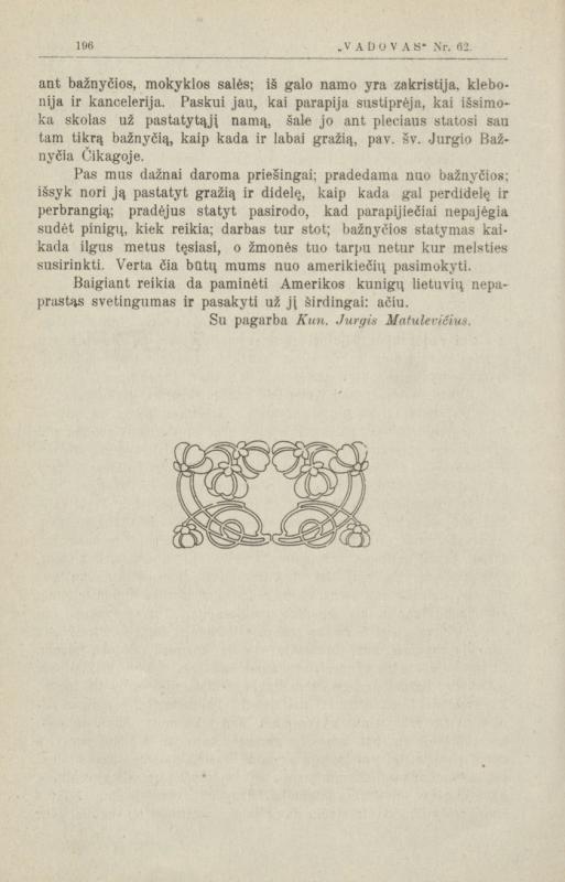 """Kunigo Jurgio Matulaičio (Matulevičiaus) straipsnis """"Iš kelionės į Ameriką įspūdžiai"""", išspausdintas mėnesiniame laikraštyje """"Vadovas"""""""