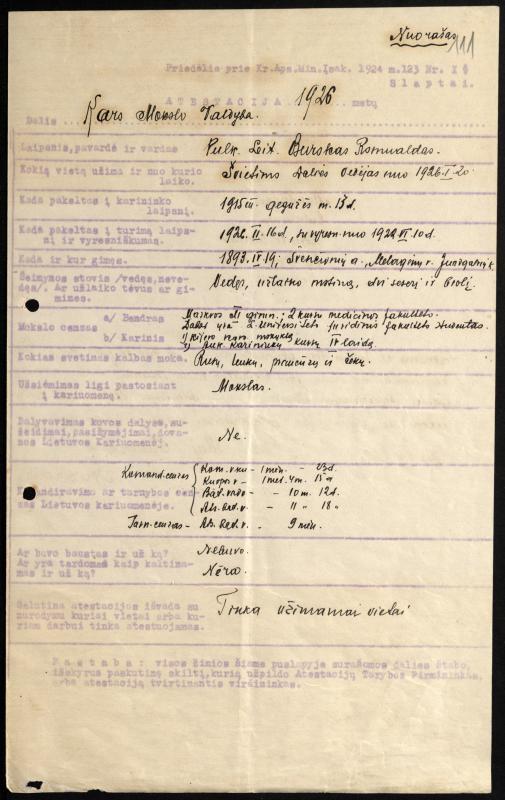 Plk. ltn. R. Buroko atestacijos lapas