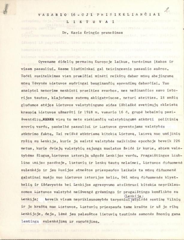 """Kazio Ėringio straipsnis """"Vasario 16-oji prisikeliančiai  Lietuvai"""".  [1985] m."""