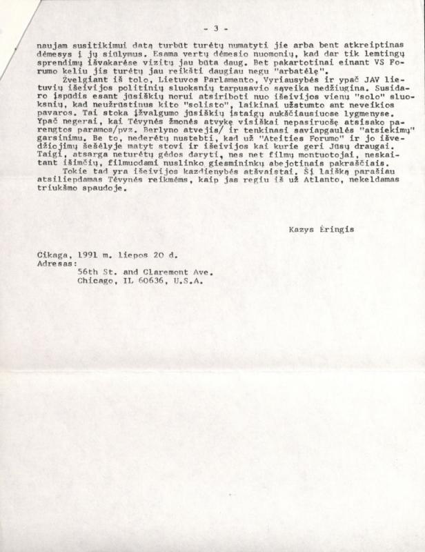 Kazio Ėringio laiškas Lietuvos Respublikos Aukščiausiosios Tarybos Pirmininkui prof. Vytautui Landsbergiui. Čikaga, 1991 m. liepos 20 d.